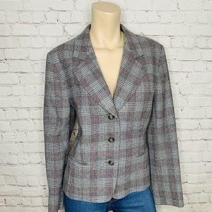 Vintage PENDLETON Plaid Wool Blazer Sz 12 Gray